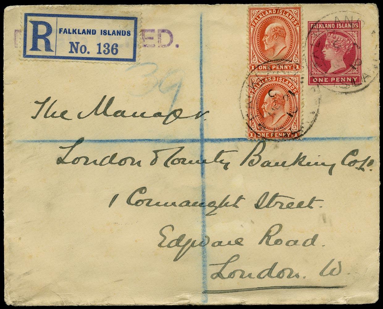 FALKLAND ISLANDS 1910  SG44 Cover QV 1d postal stationery envelope used registered to London