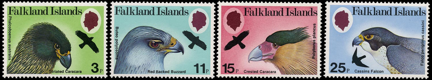 FALKLAND ISLANDS 1980  SG384w/87w Mint unmounted Birds of Prey set of 4 variety watermark Crown to left of CA
