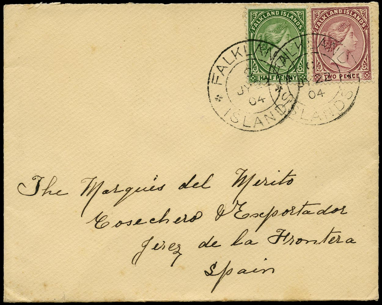 FALKLAND ISLANDS 1904  SG17b, 25 Cover from Stanley to Jerez franked at 2½d foreign rate