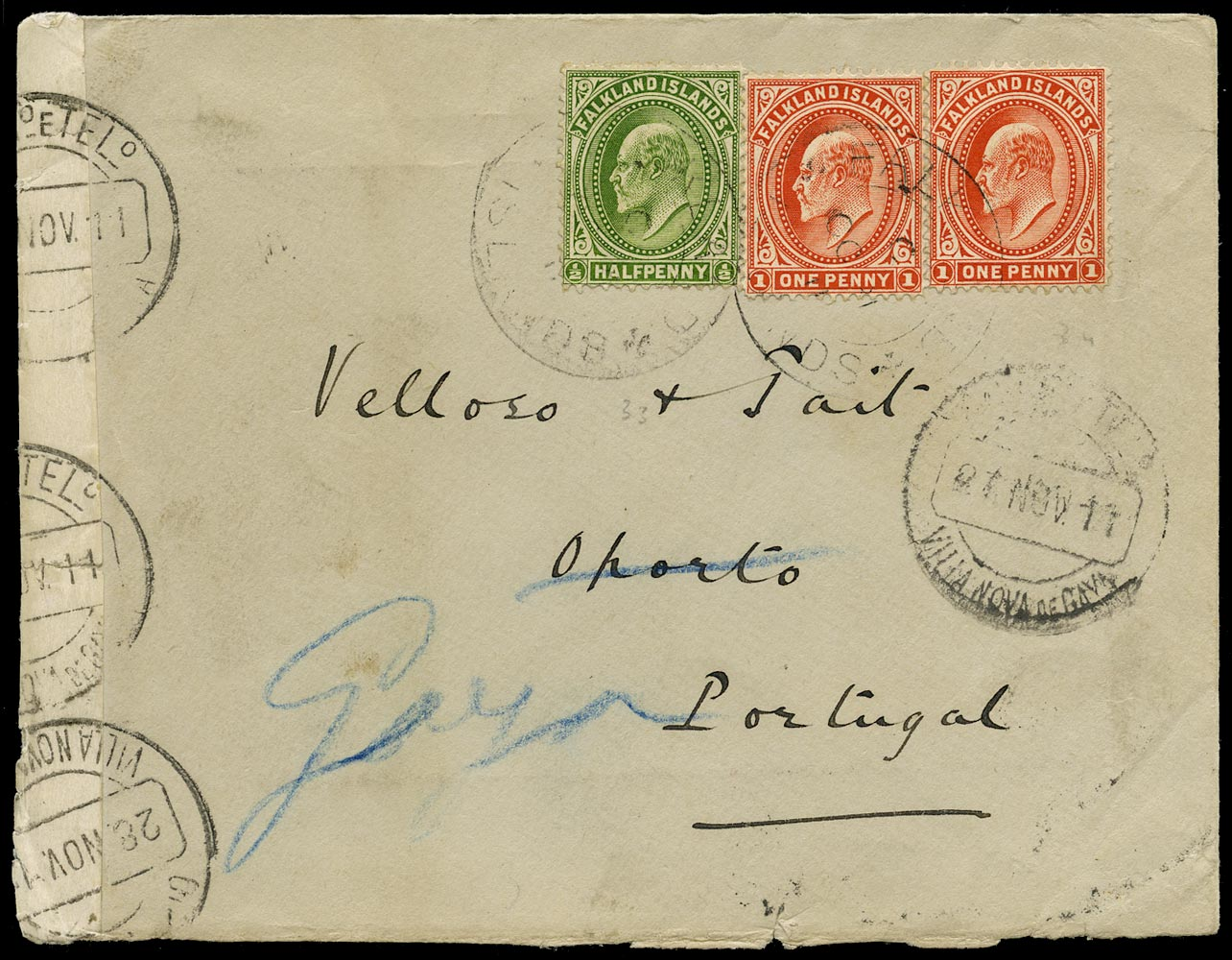 FALKLAND ISLANDS 1911  SG43b, 44e Cover from Stanley to Porto franked at 2½d foreign rate