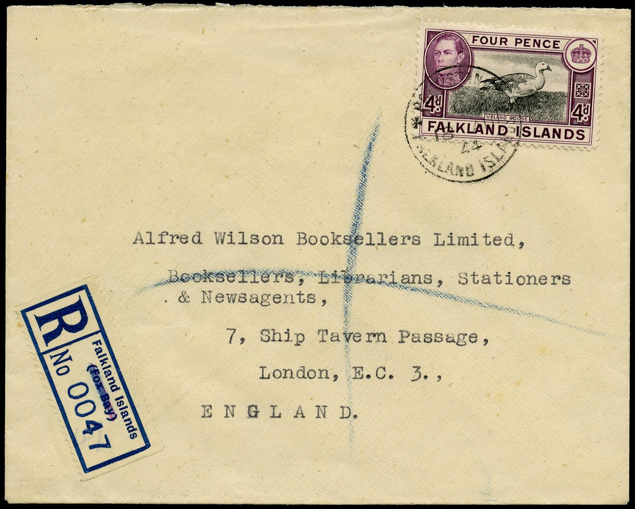 FALKLAND ISLANDS 1944  SG154 Cover registered from Stanley to London with type 11 provisional registration label