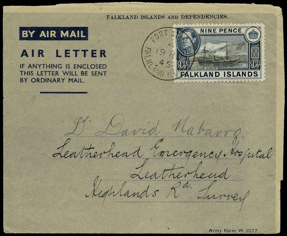 FALKLAND ISLANDS 1945  SG157 Cover Army Air Letter form W.3077 used to London