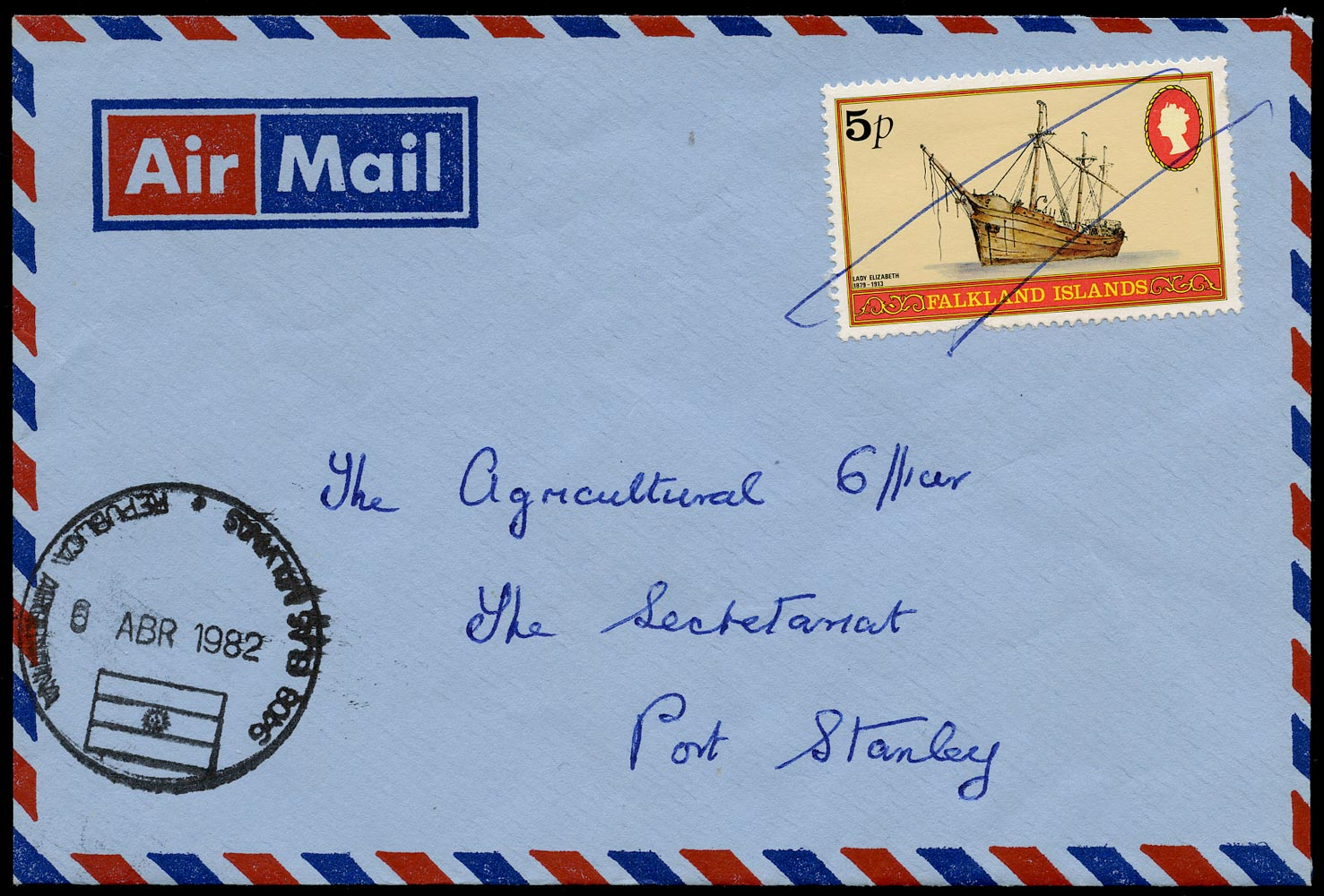 FALKLAND ISLANDS 1982  SG417 Cover locally addressed during the Argentine Occupation