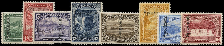 TASMANIA 1899  SG229s/36s Specimen for UPU distribution set of 8 to 6d