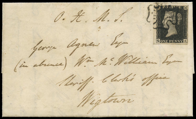 GB 1840  SG2 Pl.7 Penny Black Edinburgh to Wigtown entire