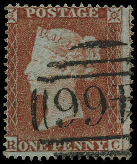GB 1854  SG17 Pl.165 Used - (RC) example, scarce plate