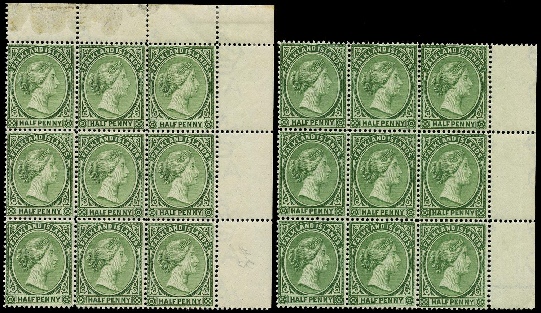 FALKLAND ISLANDS 1891  SG17b/c Mint