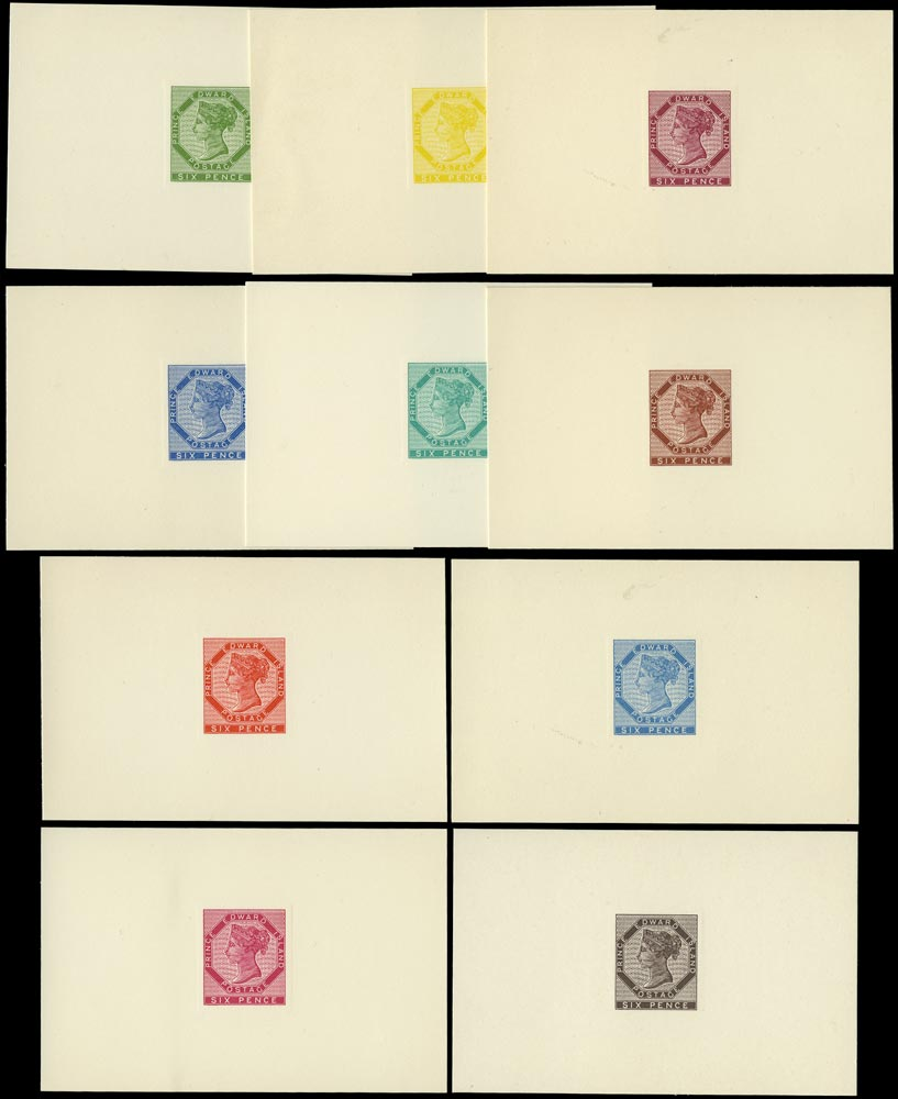 PRINCE EDWARD ISLAND 1962  SG17/18 Reprint of 1861-69 6d set of 10 die proofs