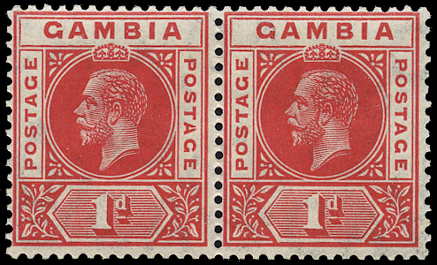 GAMBIA 1912  SG87c Mint 1d red watermark MCA variety Split A