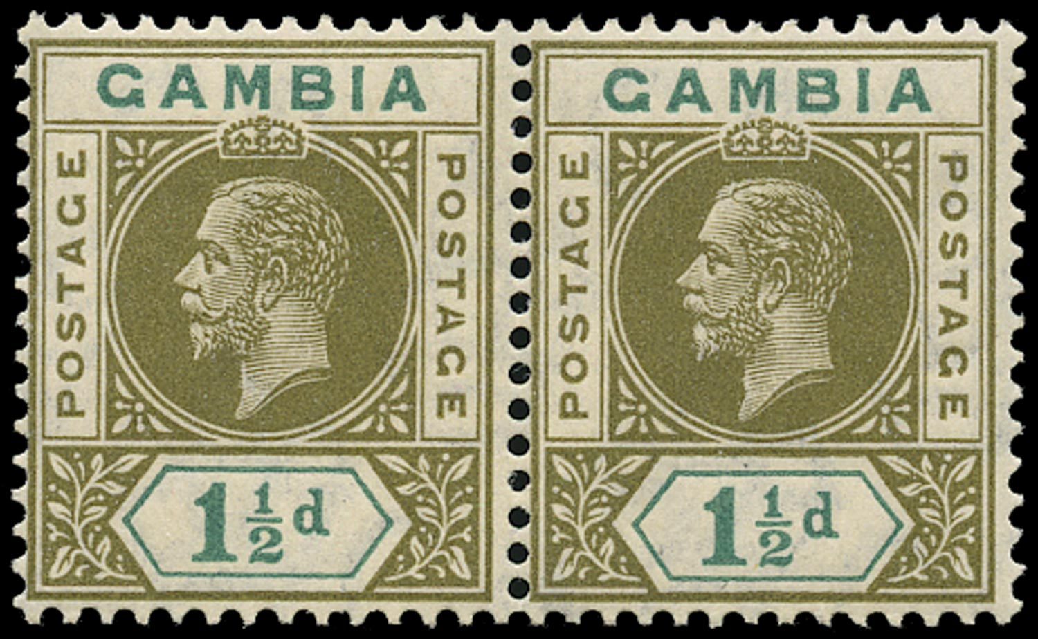 GAMBIA 1912  SG88a Mint 1½d watermark MCA variety Split A