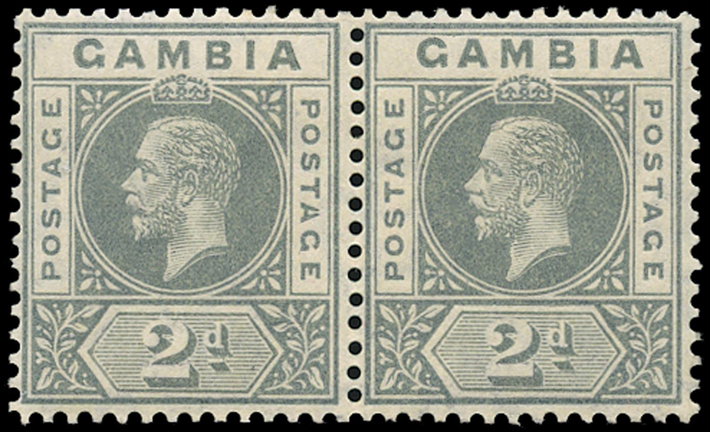 GAMBIA 1912  SG89a Mint 2d greyish slate watermark MCA variety Split A