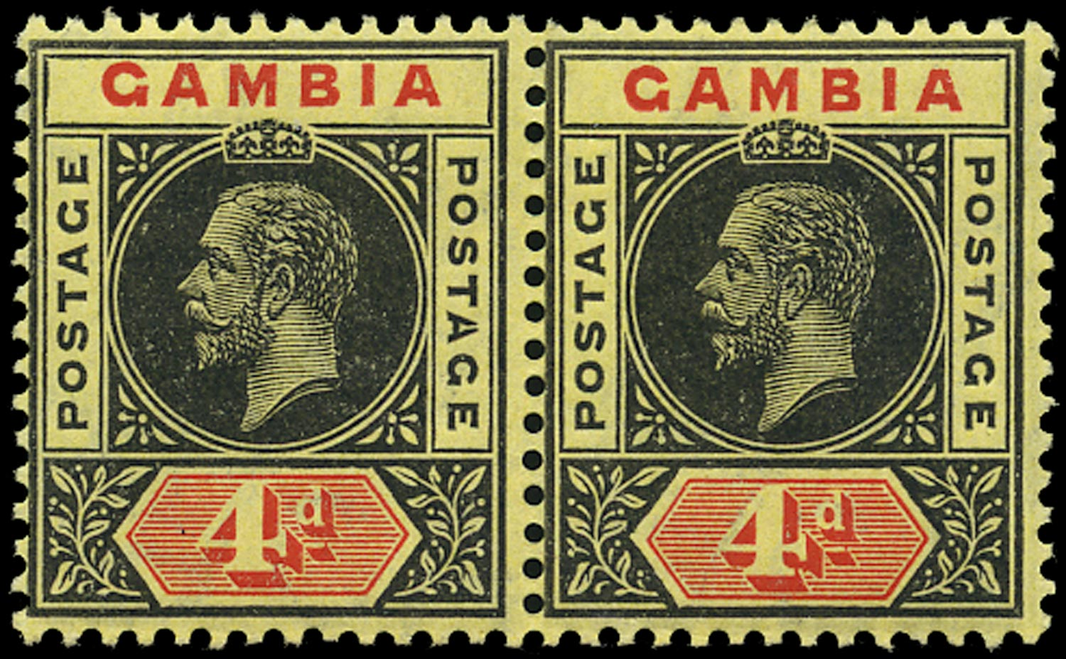GAMBIA 1912  SG92a/d Mint 4d black and red on lemon watermark MCA variety Split A