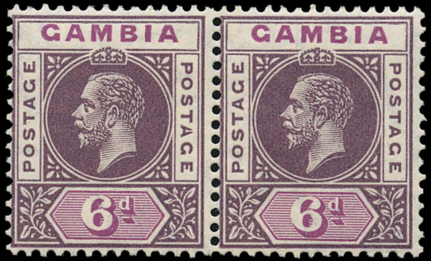 GAMBIA 1912  SG94a Mint 6d dull and bright purple watermark MCA variety Split A