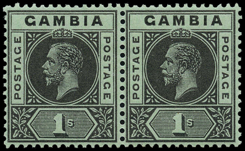 GAMBIA 1912  SG97b Mint 1s black on green watermark MCA variety Split A