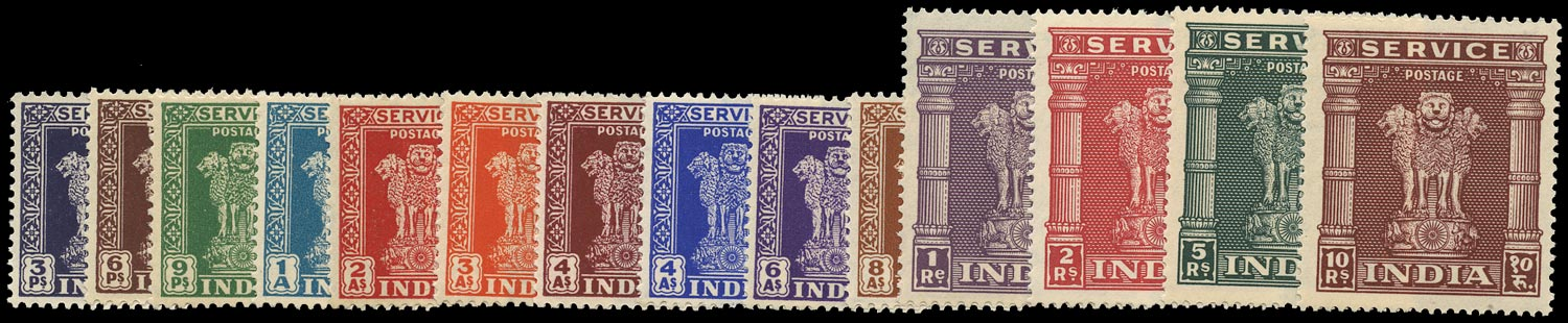 INDIA 1950  SGO151/64 Official Asokan Capital set of 14 to 10r unmounted mint