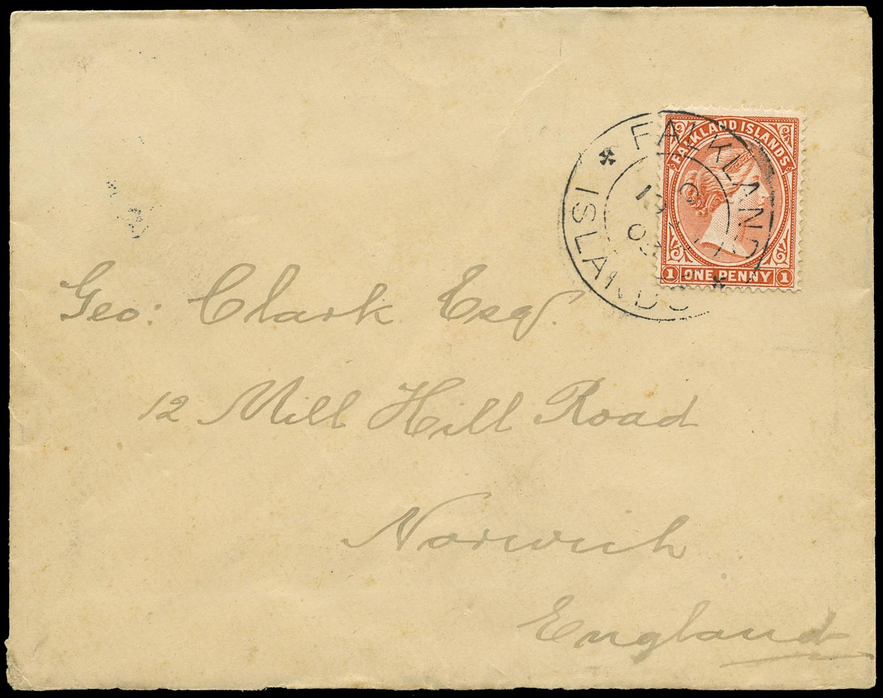FALKLAND ISLANDS 1903  SG24 Cover from Stanley to England franked 1d orange-red