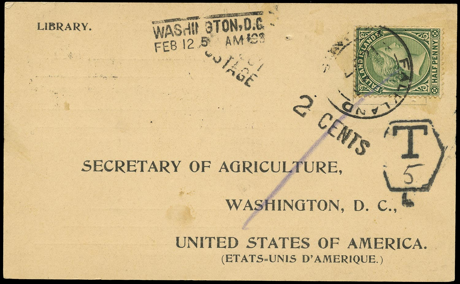 FALKLAND ISLANDS 1897  SG16 Cover from Stanley to Washington official Department of Agriculture acknowledgement of receipt card