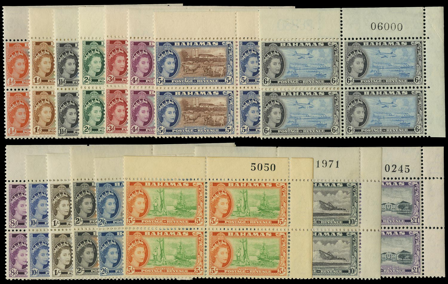 BAHAMAS 1954  SG201/16 Mint unmounted QEII pictorial set of 16 to £1