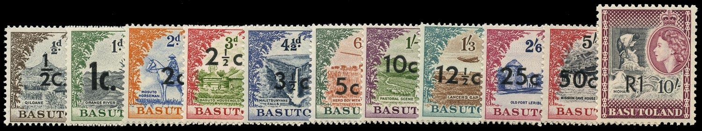 BASUTOLAND 1961  SG58/68 Mint unmounted Decimal surcharges set of 11