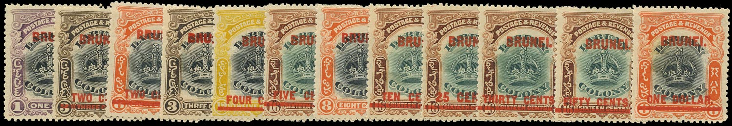 BRUNEI 1906  SG11/22 Mint overprint or surcharge on Labuan set of 12 to $1