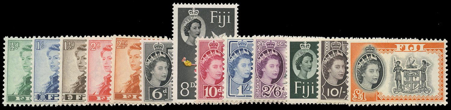 FIJI 1959  SG298/310 Mint unmounted set of 13 to £1 Script watermark