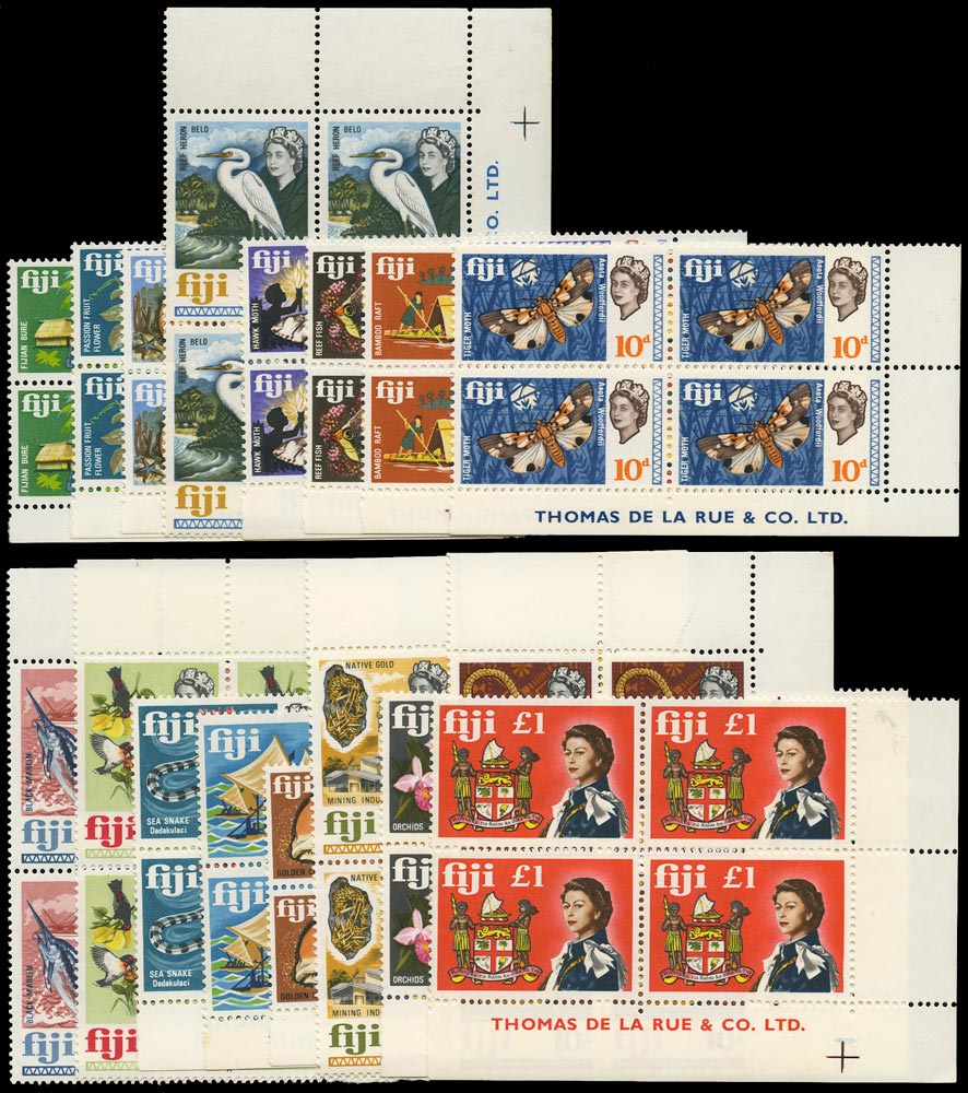 FIJI 1968  SG371/87 Mint unmounted set of 17 to £1 imprint blocks of 4