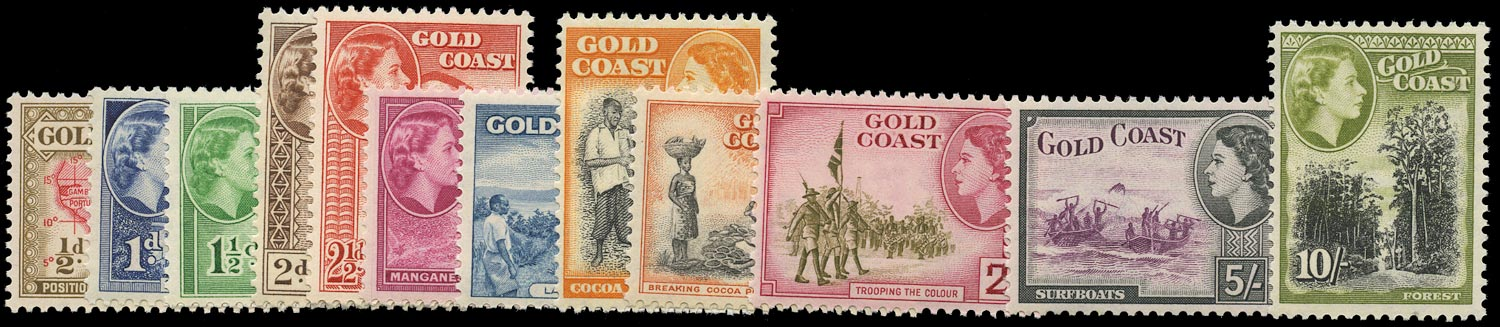 GOLD COAST 1952  SG153/64 Mint unmounted QEII set of 12 to 10s