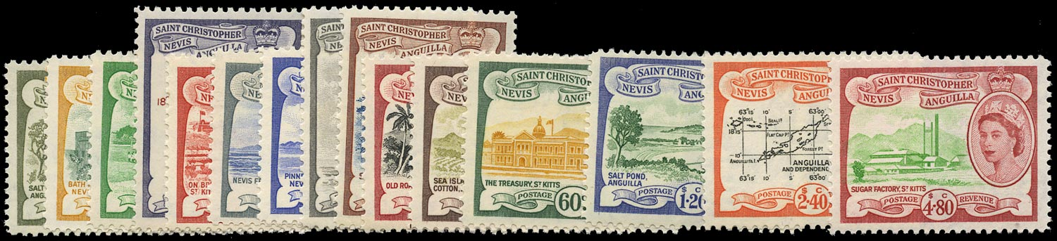ST KITTS NEVIS 1954  SG106a/18 Mint unmounted QEII pictorial set of 15 to $4.80