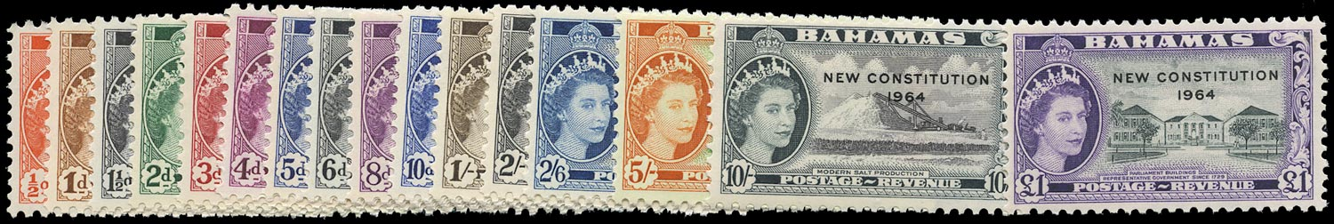 BAHAMAS 1964  SG228/43 Mint unmounted New Constitution set of 16 to £1