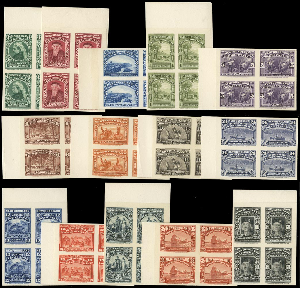 NEWFOUNDLAND 1897  SG66/79 Proof Discovery of Newfoundland set of 14 imperforate plate proof in blocks of 4