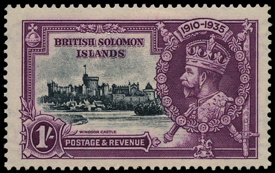 SOLOMON ISLANDS 1935  SG56a Mint Silver Jubilee 1s slate and purple variety Frame printed double, one albino