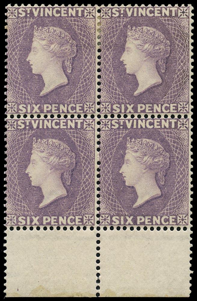 ST VINCENT 1885  SG52 Mint QV 6d violet watermark CA perf 14 (comb)