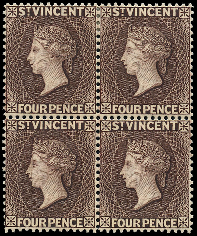 ST VINCENT 1885  SG51ax Mint QV 4d chocolate variety watermarked reversed