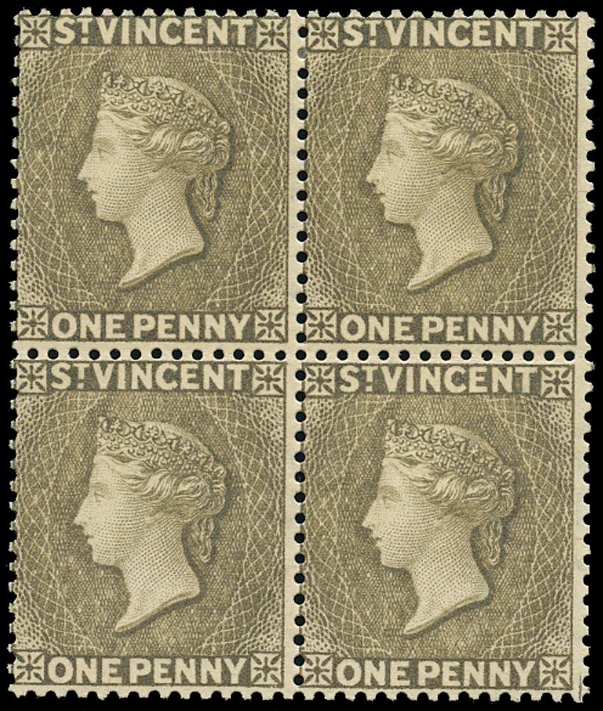 ST VINCENT 1882  SG39x Mint QV 1d drab variety watermark reversed