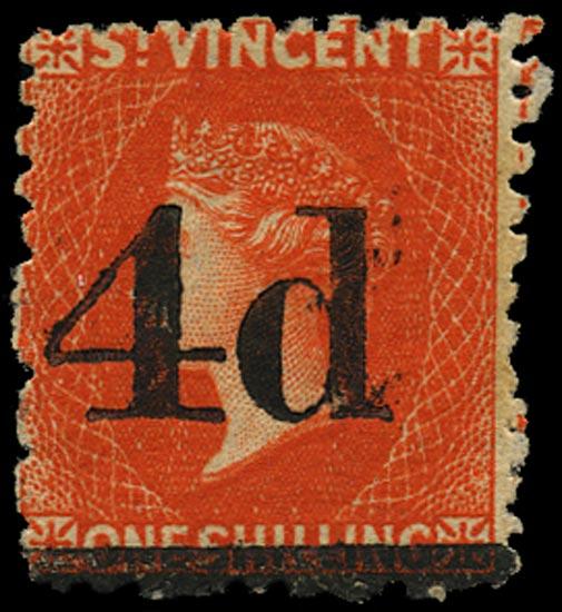 ST VINCENT 1881  SG35 Mint QV 4d on 1s bright vermilion provisional surcharge