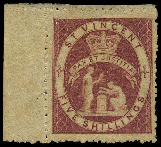 ST VINCENT 1880  SG32 Mint QV 5s rose-red watermark small star