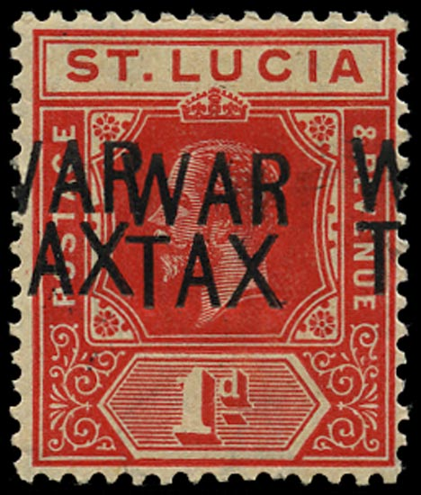 ST LUCIA 1916  SG89a Mint War Tax 1d scarlet error overprint double