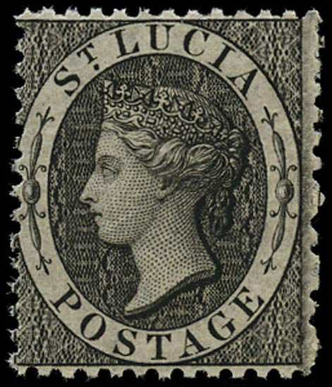 ST LUCIA 1864  SG11 Mint unmounted (1d) black perf 12½