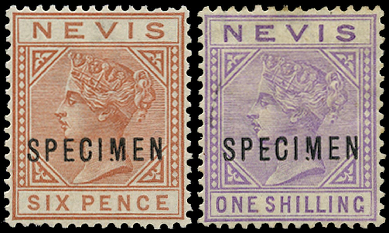 NEVIS 1882  SG33s/34s var Specimen 6d chestnut and 1s pale violet with Broken M