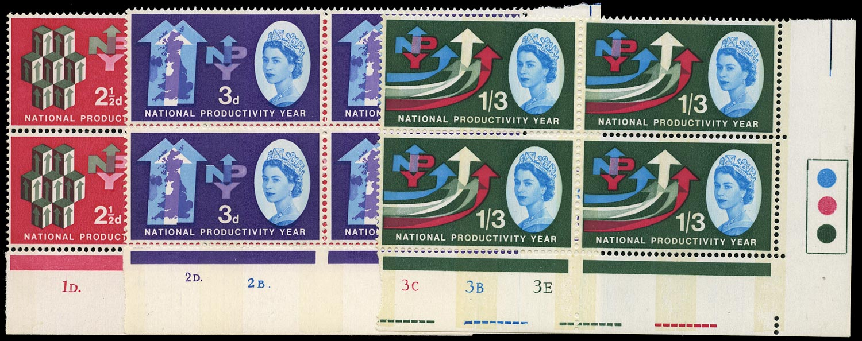 GB 1962  SG631/3p Mint set of three in cylinder blocks