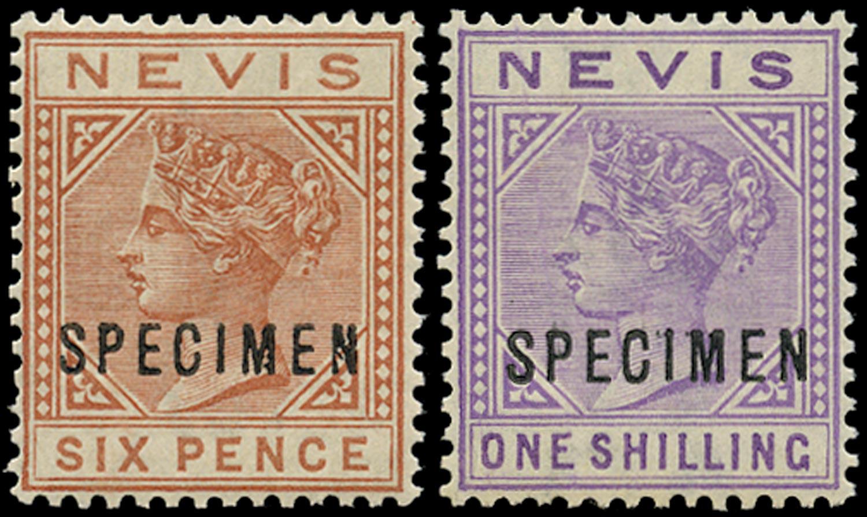 NEVIS 1882  SG33s/34s Specimen 6d chestnut and 1s pale violet watermark CA