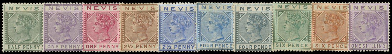 NEVIS 1882  SG25/34 Mint QV set of 10 watermark CA