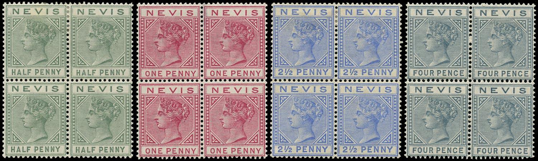 NEVIS 1882  SG25, 27a, 29, 31 Mint QV ½d, 1d carmine, 2½d ultramarine, 4d grey watermark CA
