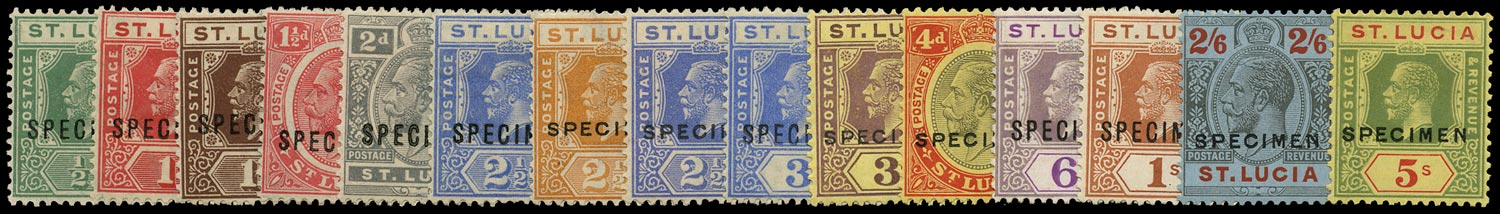 ST LUCIA 1921  SG91s/105s Specimen KGV set of 15 to 5s Script watermark