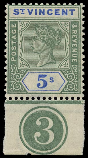 ST VINCENT 1899  SG75 Mint QV 5s green and blue with plate number 3