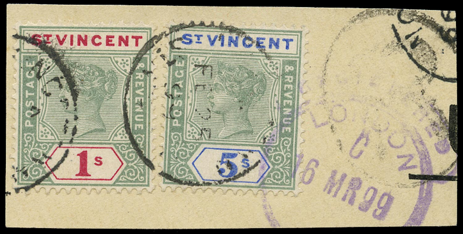 ST VINCENT 1899  SG74, 75 Used QV 1s green and carmine, 5s green and blue