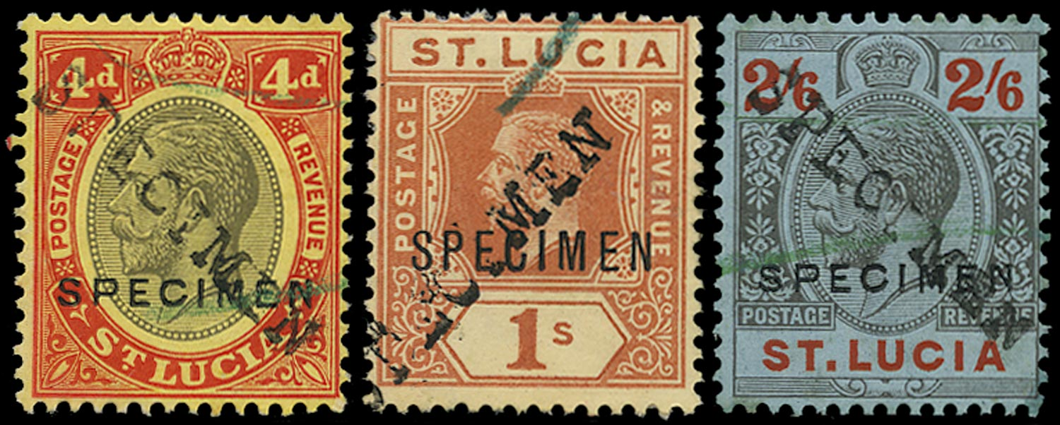 ST LUCIA 1912  SG83s, 86s/87s Specimen 4d, 1s, 2s6d with Bechuanaland receiving handstamp
