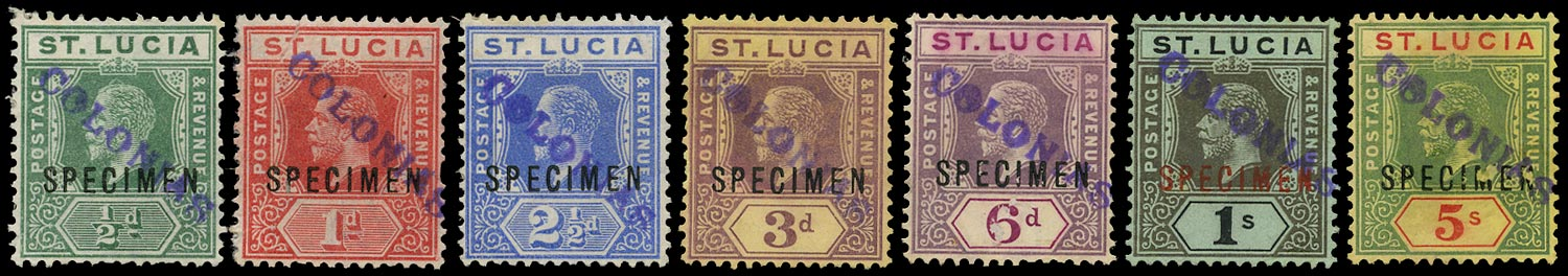 ST LUCIA 1912  SG78/88 btwn Specimen range to 5s wmk MCA with Portuguese COLONIAS receiving handstamp