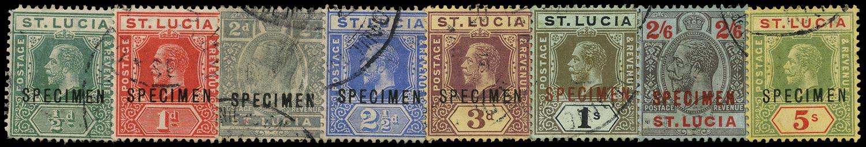 ST LUCIA 1912  SG78/88 btwn Specimen range to 5s wmk MCA with Gabon receiving handstamp