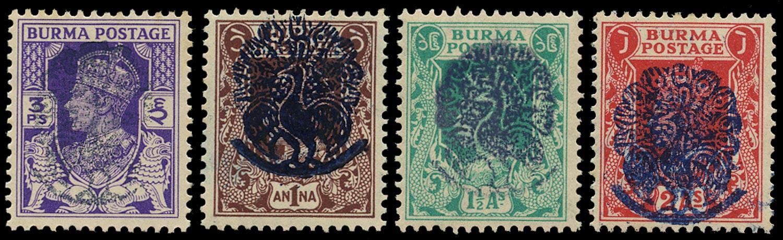 BURMA JAPANESE OCC 1942  SGJ26, 29/31 Mint